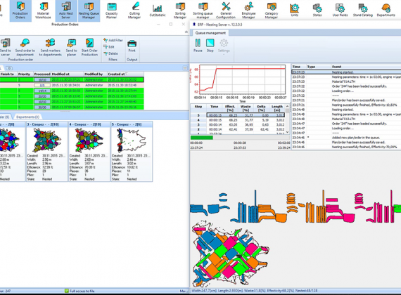 Automatic server nesting - MRP - Cutting Room Management - MiriSys Software