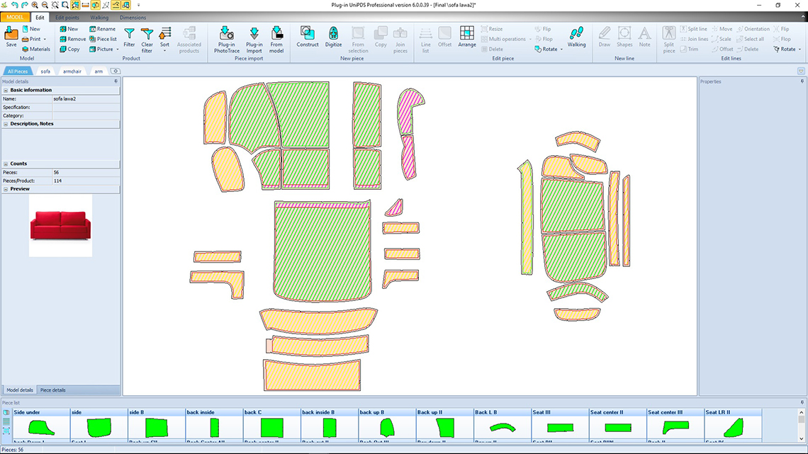 UniPDS Pattern Design Software. Upholstery furniture, automotive ...